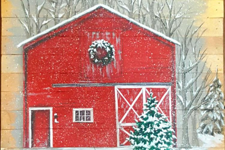 Winter Barn, approximately 10 x 10, acrylic painting, 7 hour class, fee is $75. — at Joyful Arts Studio.