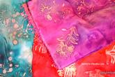 Batik Silk Scarves, 3 hour class for $40, 100% silk scarves measure 12 x 60 inches. Beginner's welcome! Student will need to bring freezer paper, paper towels and a block of paraffin wax.