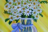 Shasta Daisies, 16 x 20 acrylic painting, 2.5 hour class, fee is $40 — at Joyful Arts Studio.