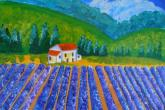 Lavender Fields, 16 x 20 acrylic painting, 6 hours, class fee is $60 — at Joyful Arts Studio.