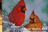 Cardinal Pair, 6 x 6, acrylic painting, 3 hour class, fee is $40. — at Joyful Arts Studio.